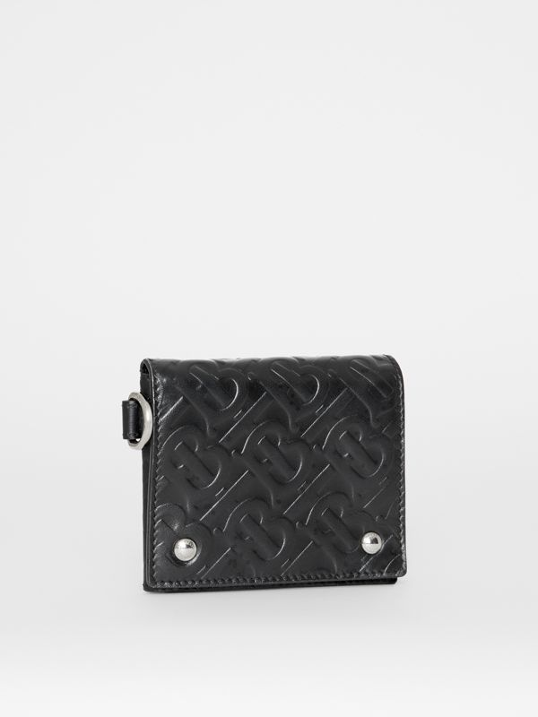 Monogram Embossed Leather Trifold Wallet in Black - Men | Burberry Australia - cell image 3