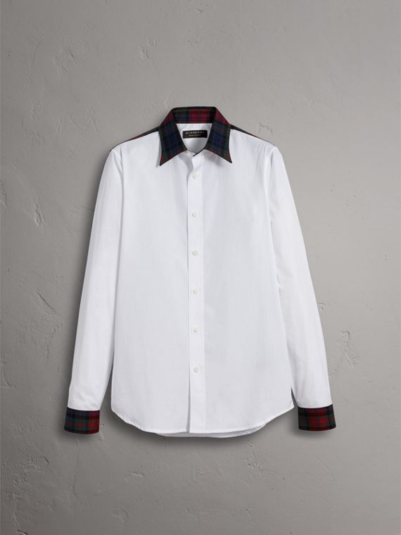 Tartan Cotton Gabardine Detail Cotton Poplin Shirt in White - Men | Burberry - cell image 3