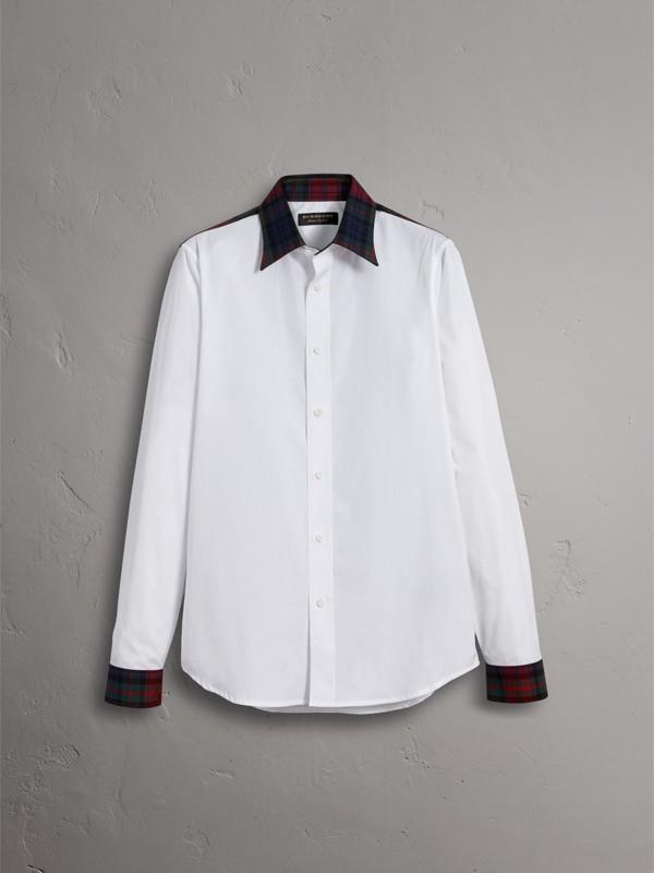 Tartan Cotton Gabardine DetailCotton Poplin Shirt in White - Men | Burberry - cell image 3
