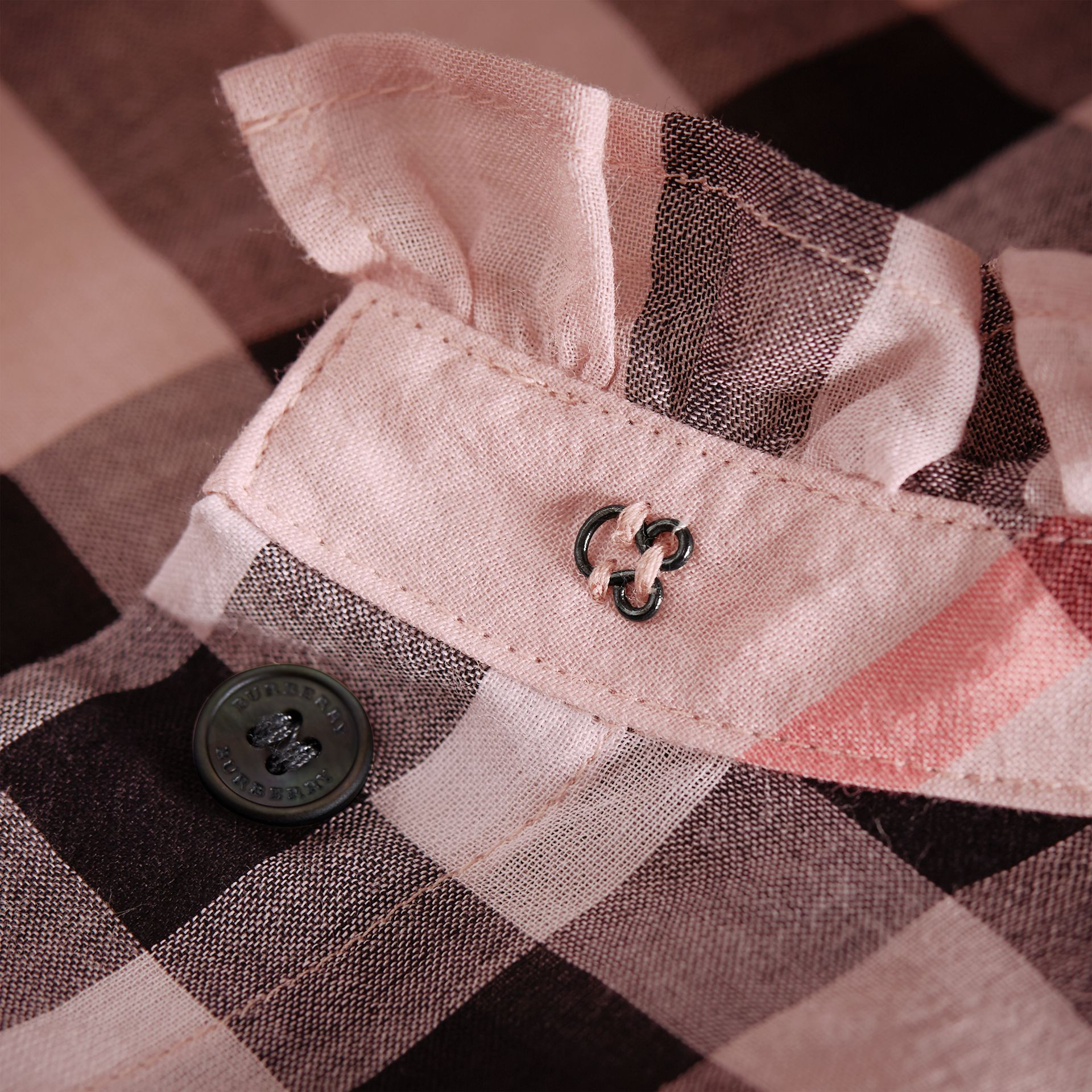 Ruffle Detail Check Cotton Shirt in Vintage Pink - Women | Burberry - gallery image 1