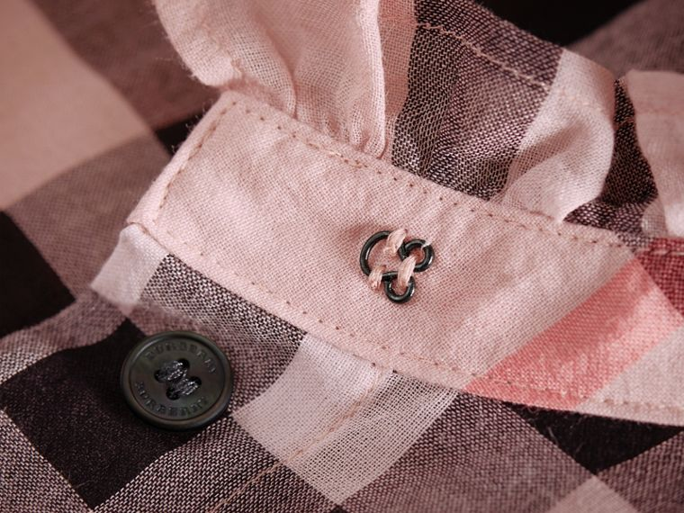 Ruffle Detail Check Cotton Shirt in Vintage Pink - Women | Burberry - cell image 1