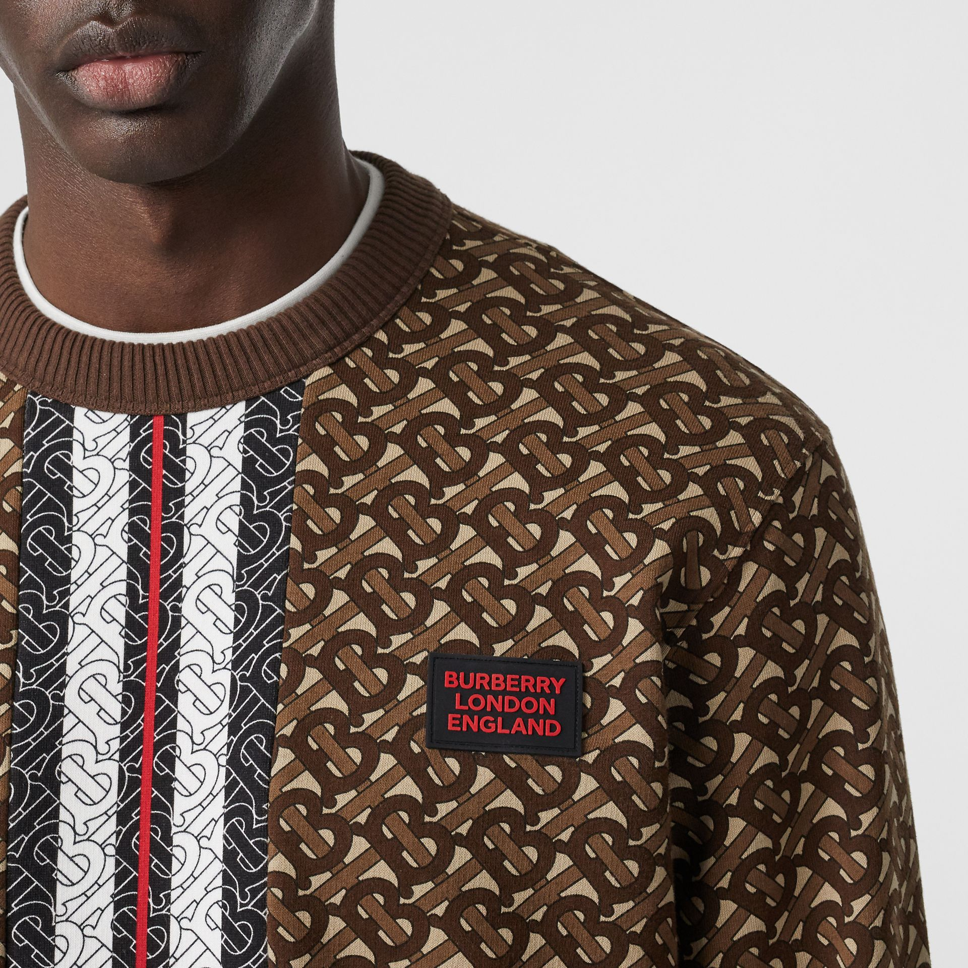 Monogram Stripe Print Cotton Sweatshirt in Bridle Brown - Men | Burberry - gallery image 1