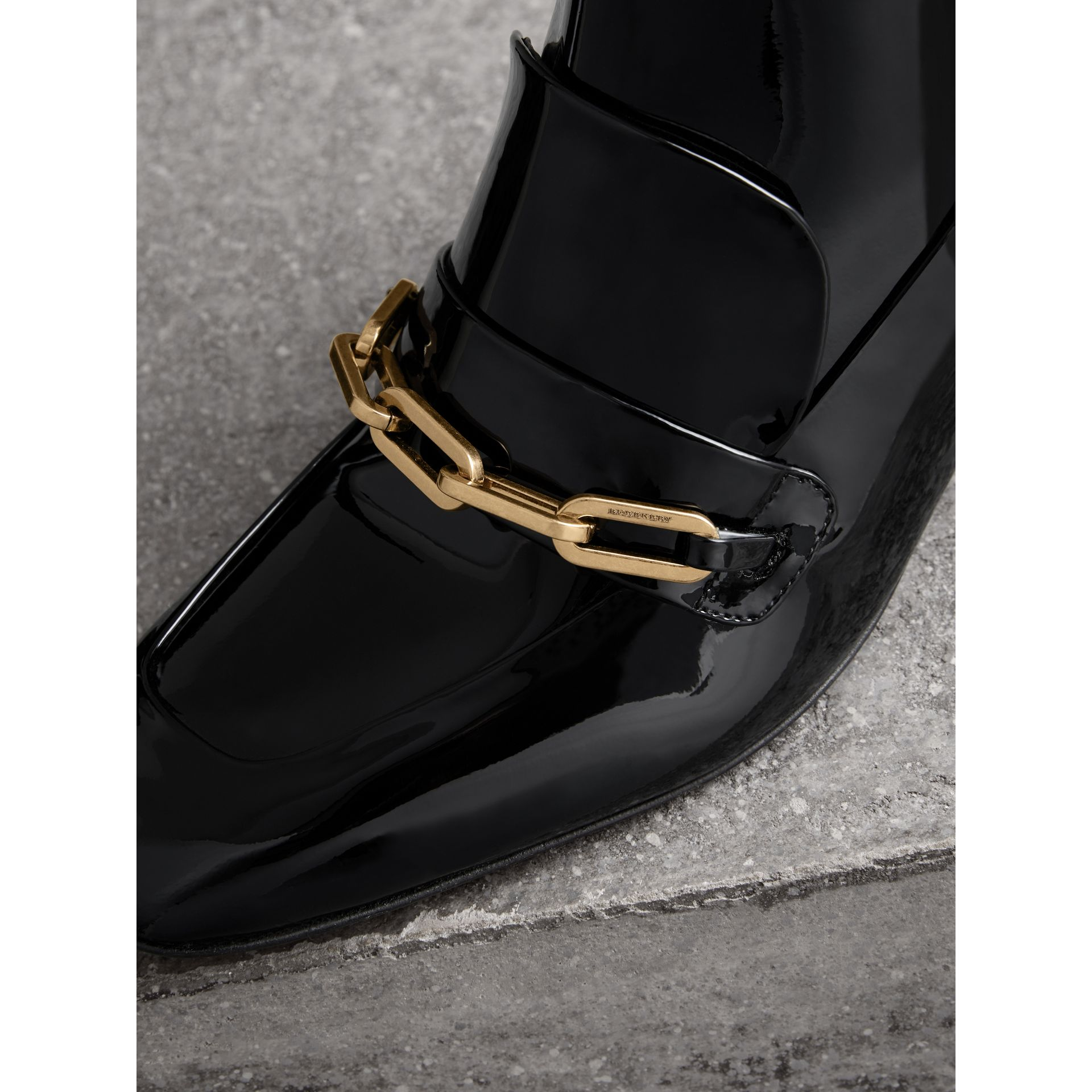 Link Detail Patent Leather Ankle Boots in Black - Women | Burberry - gallery image 1