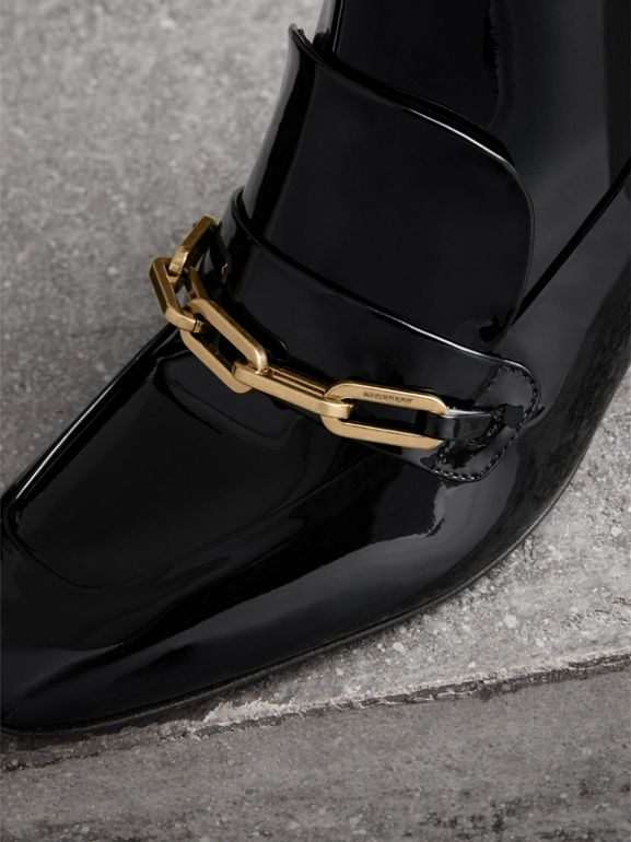 Link Detail Patent Leather Ankle Boots in Black - Women | Burberry - cell image 1