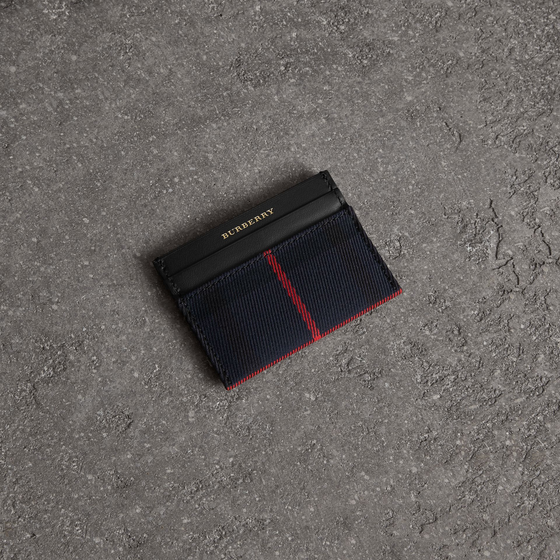 Tartan Check and Leather Card Case in Deep Navy/black | Burberry - gallery image 0