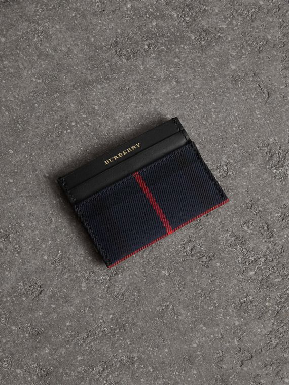 Tartan Check and Leather Card Case in Deep Navy/black
