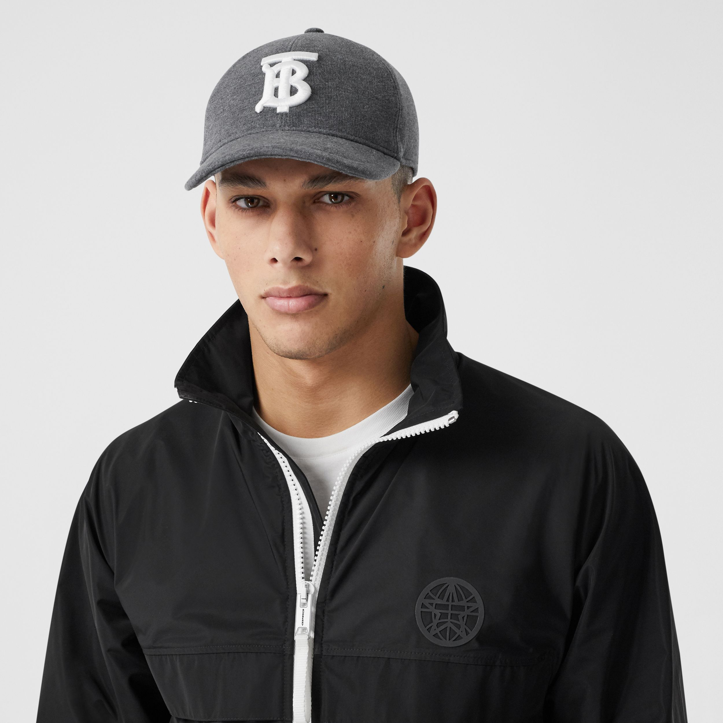 Monogram Motif Jersey Baseball Cap in Dark Charcoal | Burberry - 3