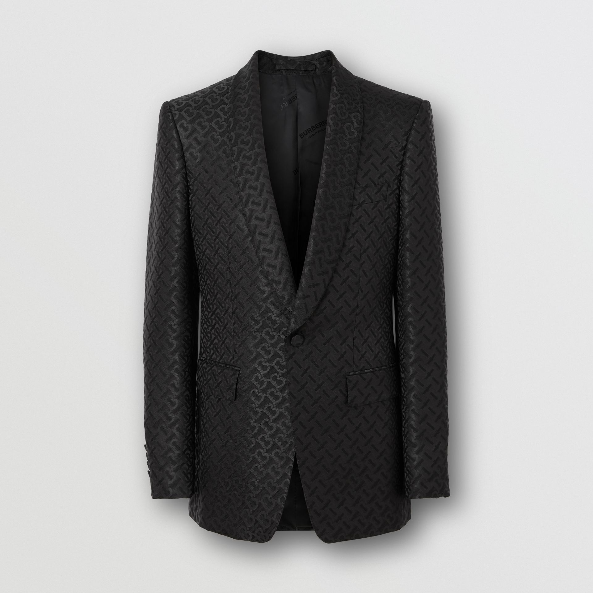 English Fit Monogram Wool Blend Jacquard Tuxedo in Black - Men | Burberry - gallery image 3