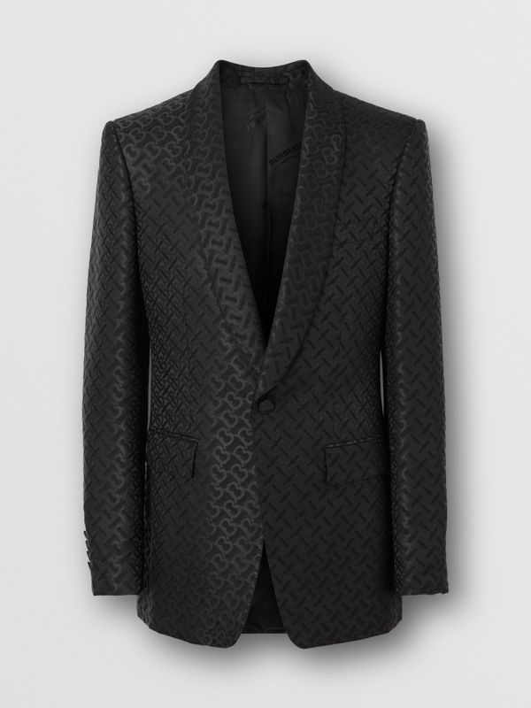 English Fit Monogram Wool Blend Jacquard Tuxedo in Black - Men | Burberry - cell image 3