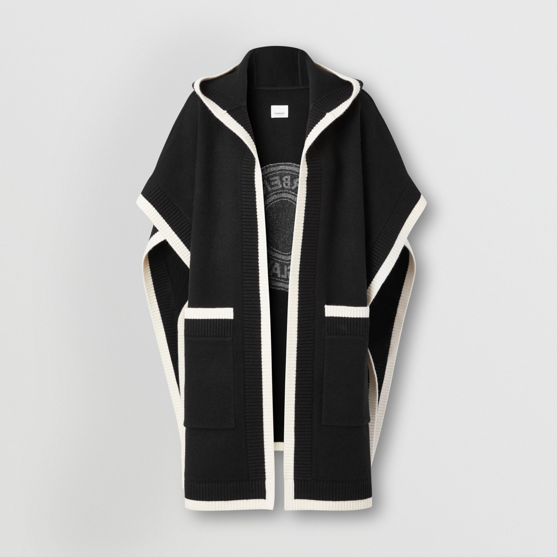 Logo Graphic Wool Cashmere Jacquard Hooded Cape in Black - Women | Burberry United States - gallery image 3