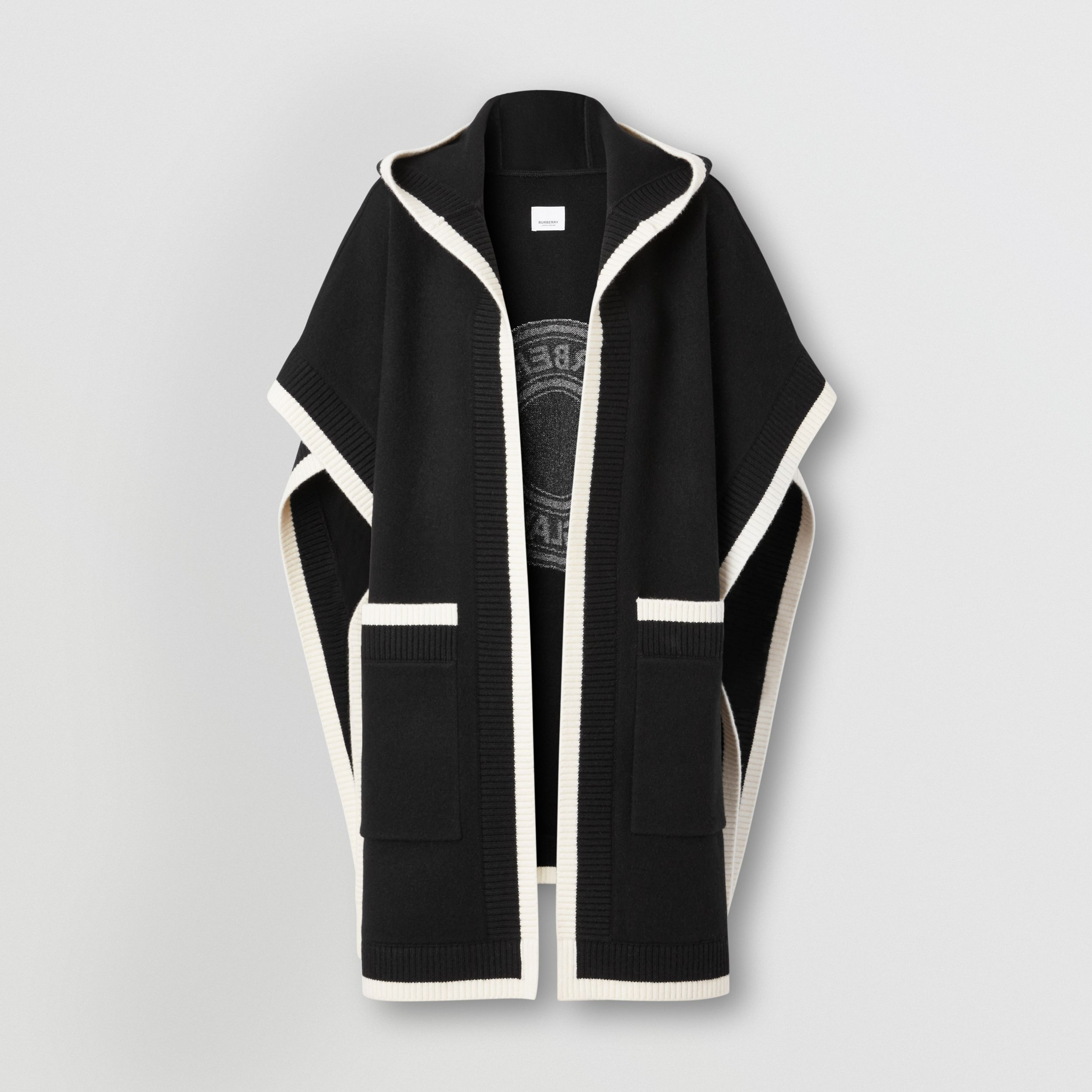 Logo Graphic Wool Cashmere Jacquard Hooded Cape in Black - Women | Burberry - 4