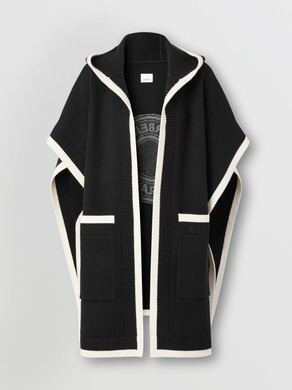 Logo Graphic Wool Cashmere Jacquard Hooded Cape in Black - Women | Burberry United States - cell image 3