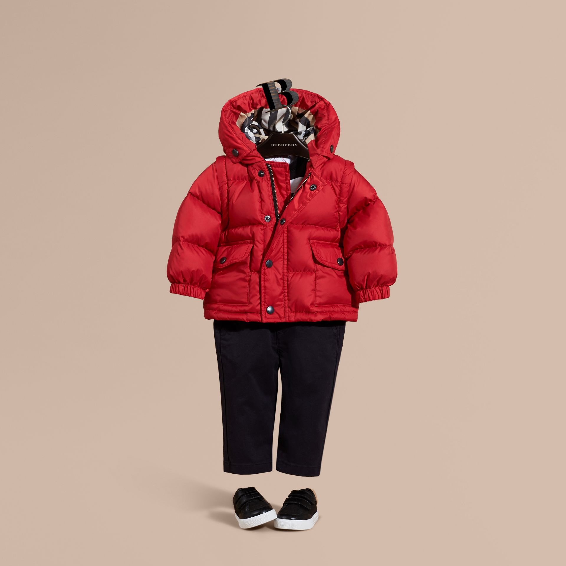 Military red Detachable Sleeve Puffer Jacket Military Red - gallery image 1