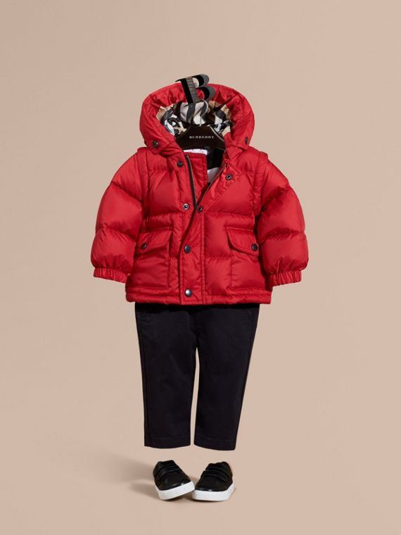 Detachable Sleeve Puffer Jacket Military Red