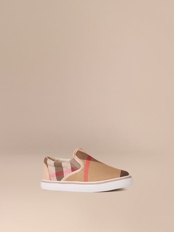 House Check Cotton Slip-On Trainers Light Honey