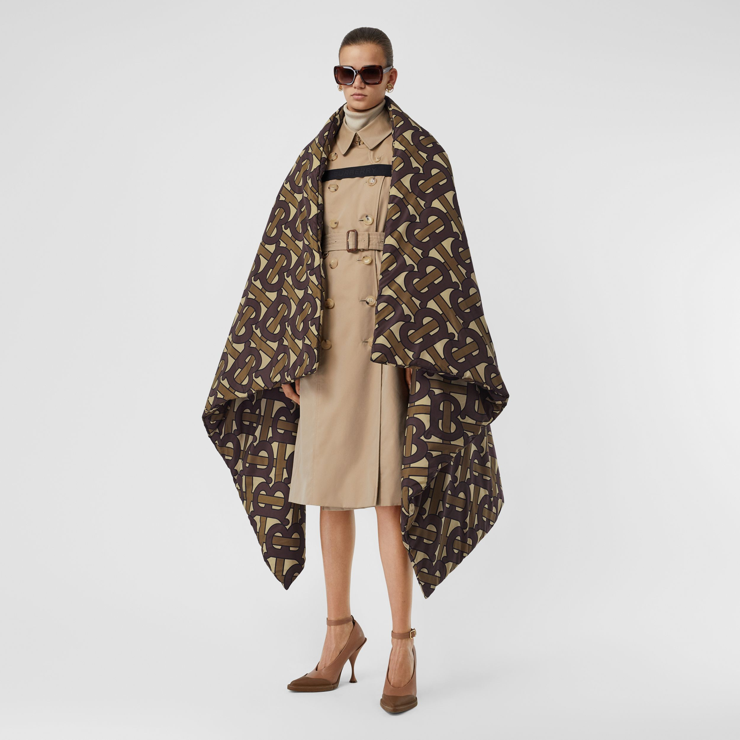 Monogram Print Oversized Puffer Cape in Bridle Brown | Burberry Australia - 1