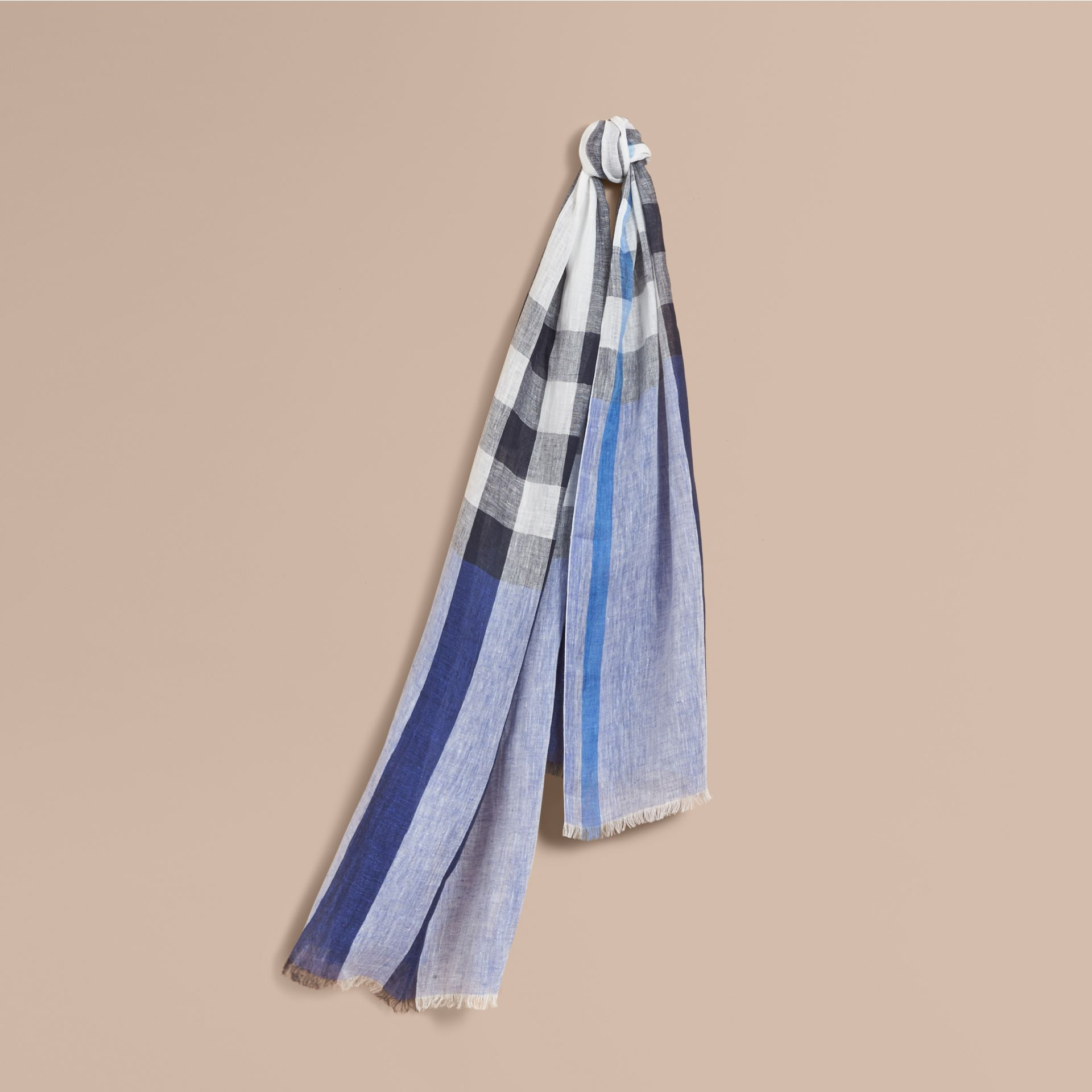 Lightweight Check Linen Scarf Chalk Blue - gallery image 1