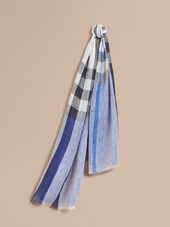 Lightweight Check Linen Scarf Chalk Blue
