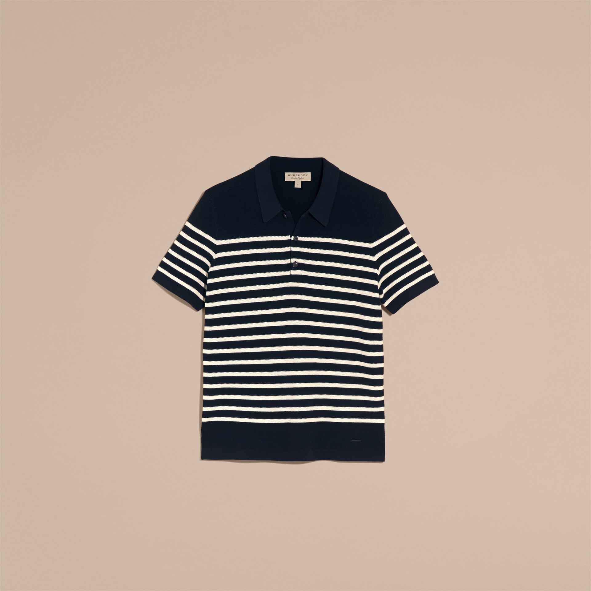 Striped Knitted Cotton Polo Shirt in Navy - Men | Burberry Australia - gallery image 4