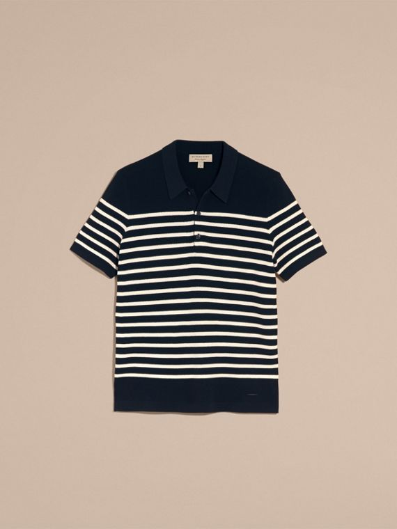 Striped Knitted Cotton Polo Shirt in Navy - Men | Burberry Australia - cell image 3