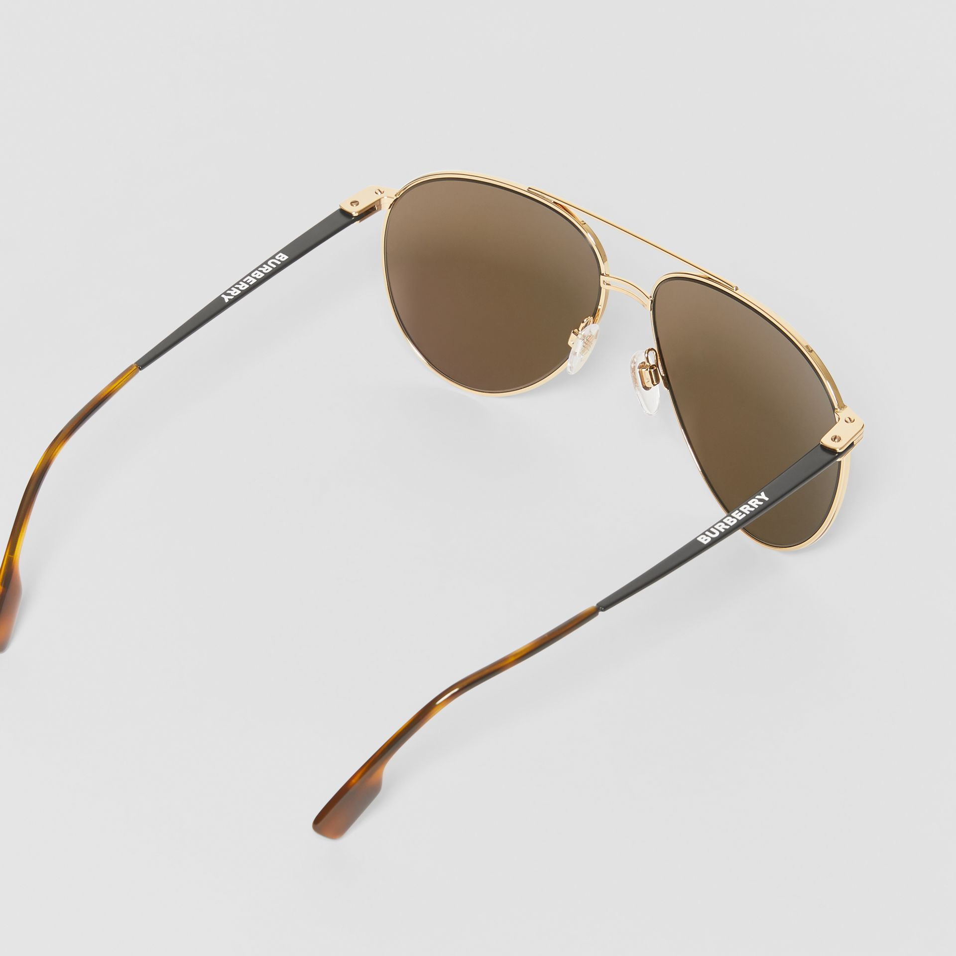 Top Bar Detail Pilot Sunglasses in Gold - Men | Burberry - gallery image 4