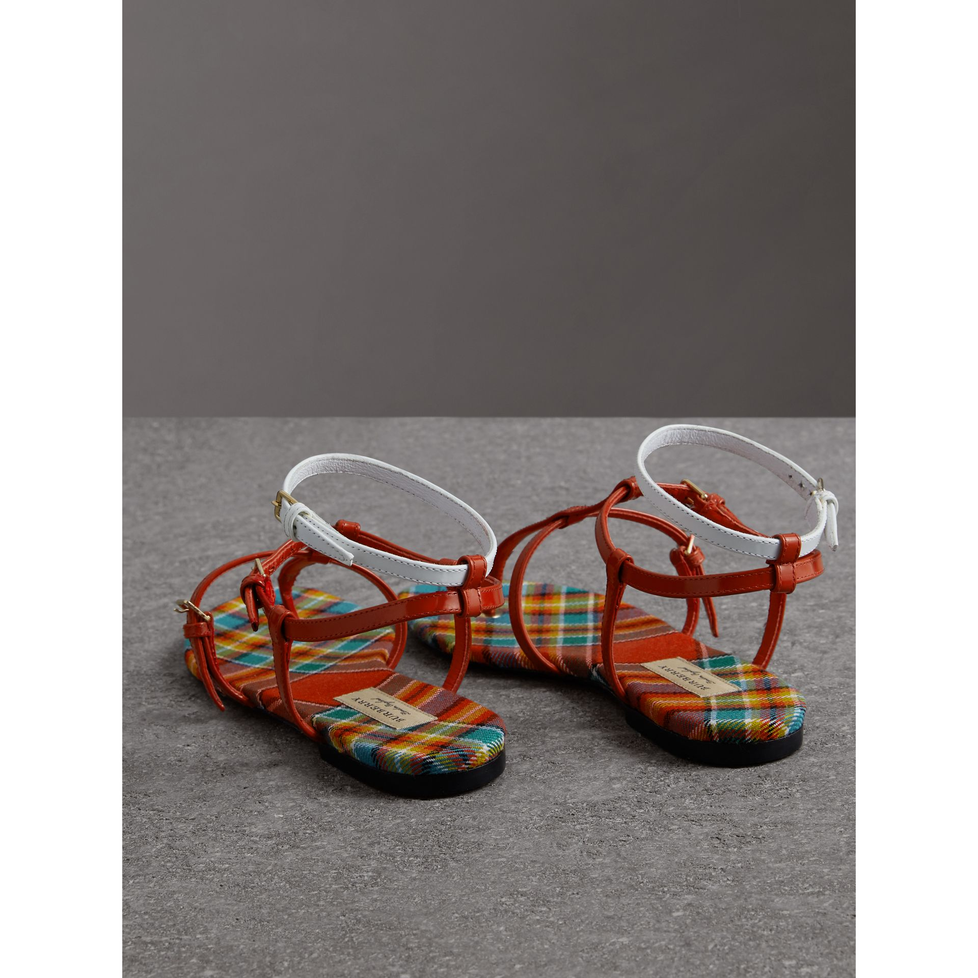 Vintage Check and Leather Sandals in Orange Red - Women | Burberry - gallery image 3