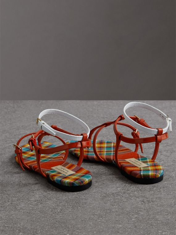 Vintage Check and Leather Sandals in Orange Red - Women | Burberry - cell image 3