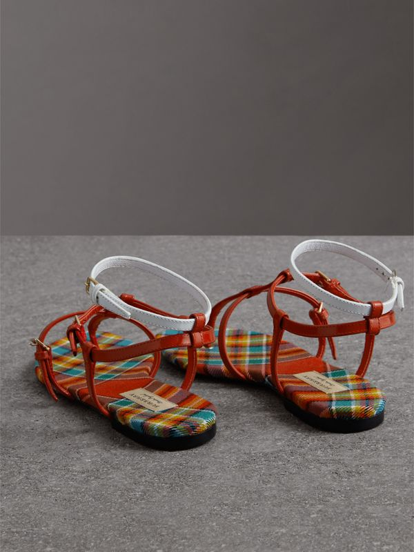 Vintage Check and Leather Sandals in Orange Red - Women | Burberry United Kingdom - cell image 3