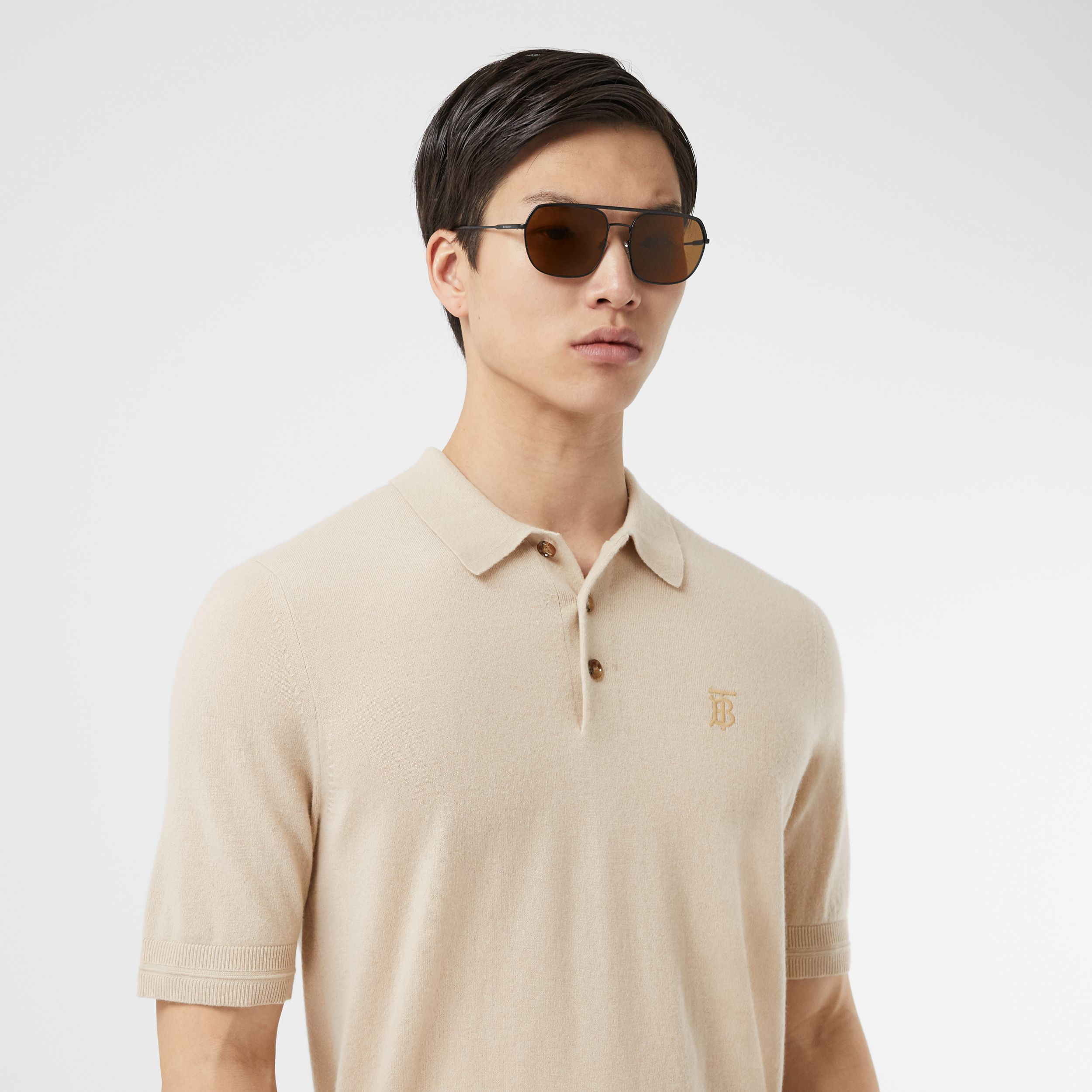 Monogram Motif Cashmere Polo Shirt in Soft Fawn | Burberry - 2