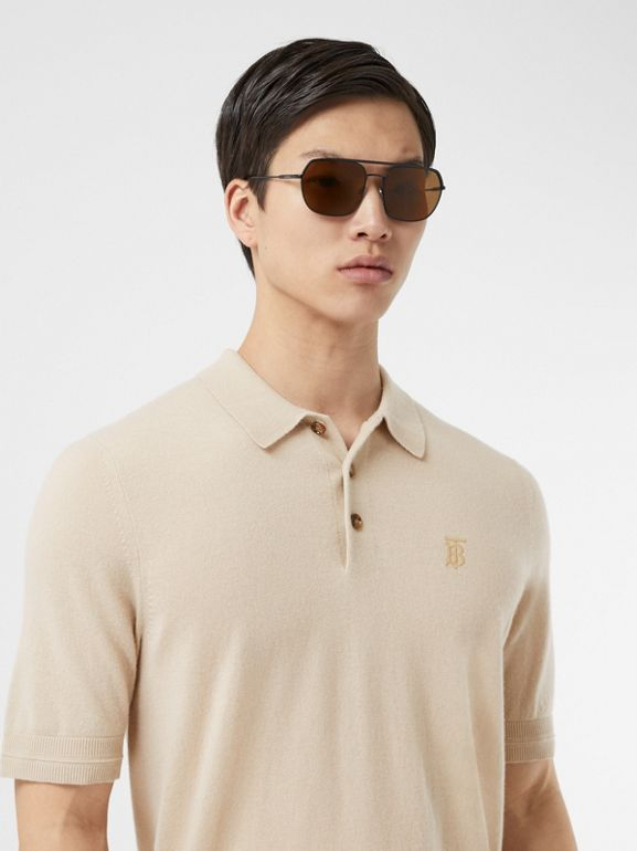 Monogram Motif Cashmere Polo Shirt in Soft Fawn - Men | Burberry United Kingdom - cell image 1