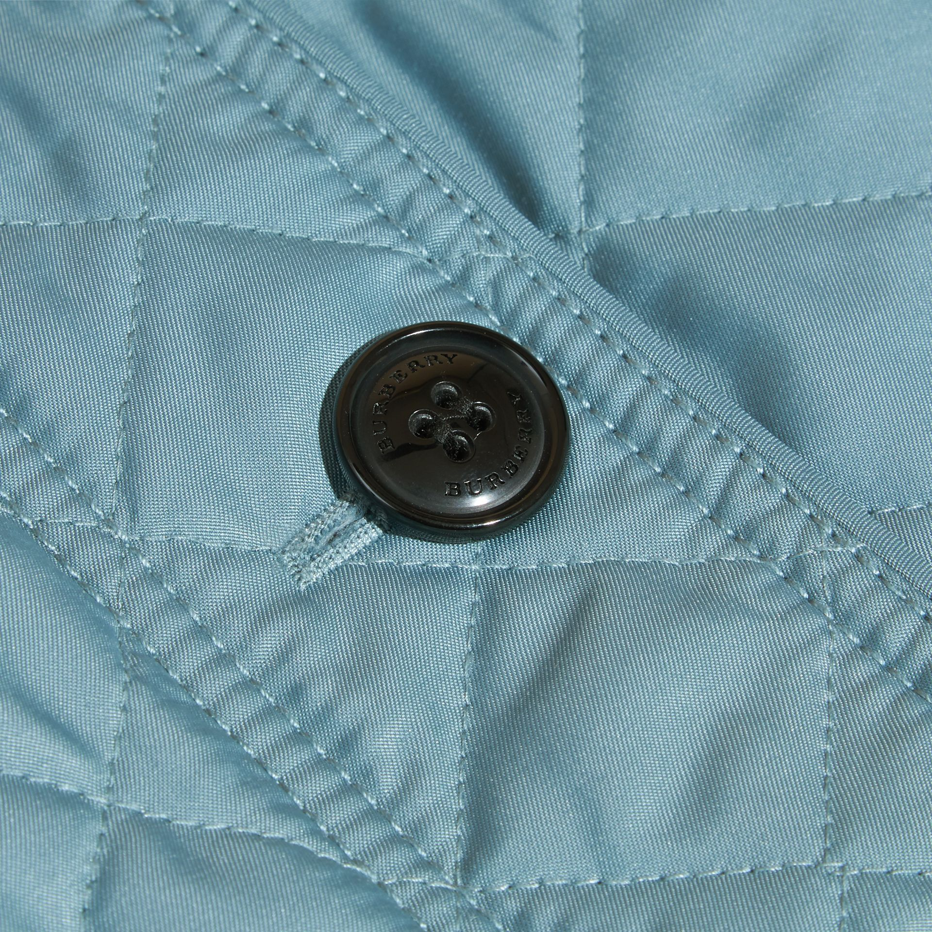 Collarless Diamond Quilted Jacket Dusty Teal Blue - gallery image 2