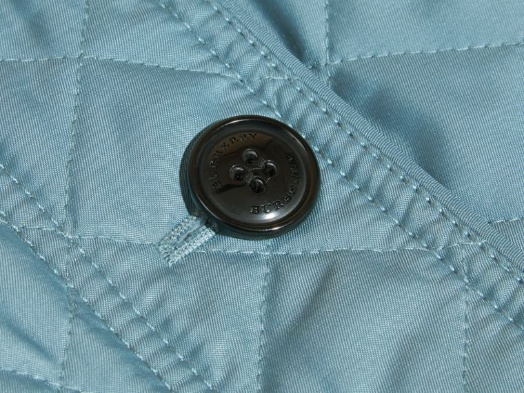 Collarless Diamond Quilted Jacket Dusty Teal Blue - cell image 1
