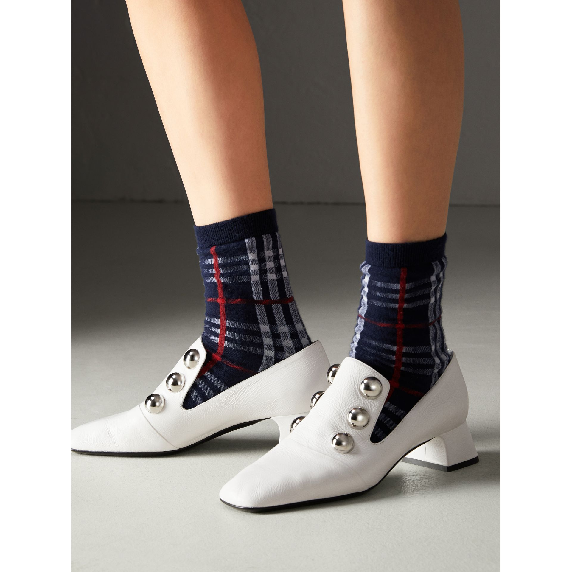 Vintage Check Cotton Blend Socks in Navy | Burberry Canada - gallery image 2
