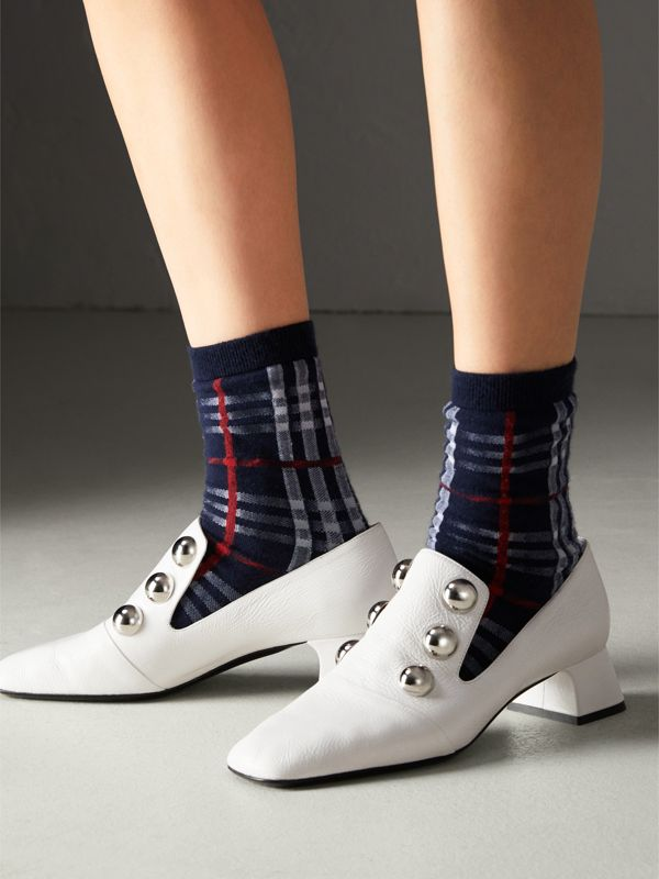 Vintage Check Cotton Blend Socks in Navy | Burberry Hong Kong - cell image 2