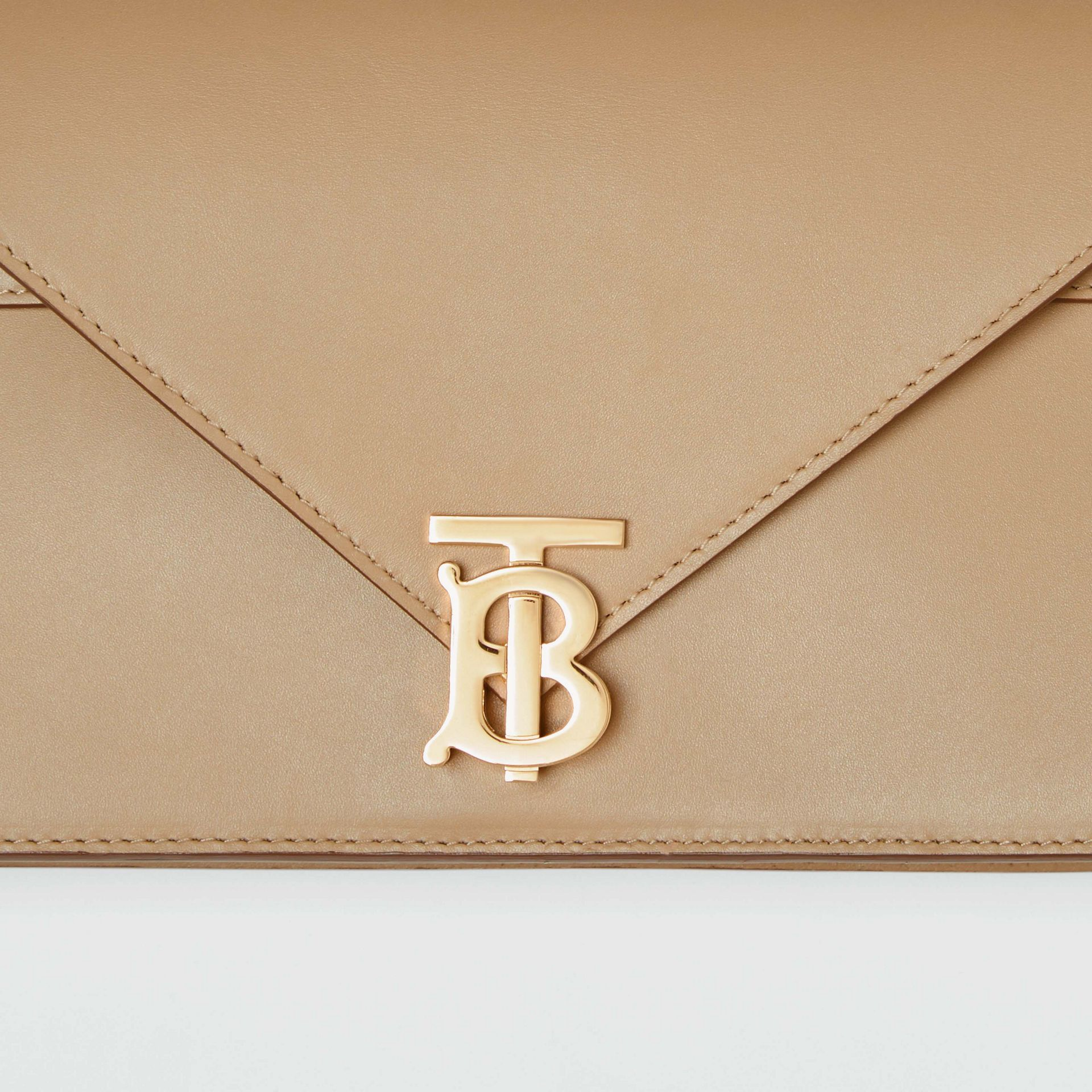 Small Leather TB Envelope Clutch in Honey - Women | Burberry - gallery image 1