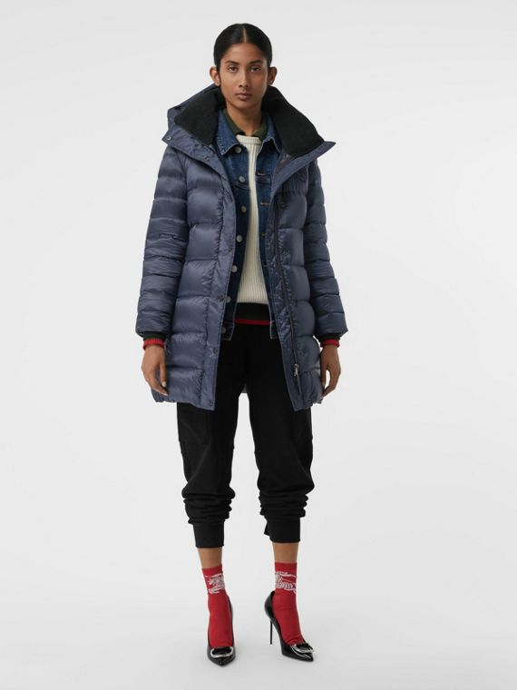 Down-filled Hooded Puffer Coat in Navy