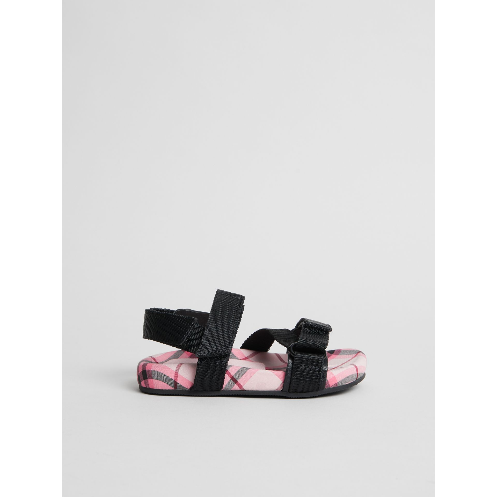 Ripstop Strap Check Cotton Sandals in Bright Rose - Children | Burberry - gallery image 3