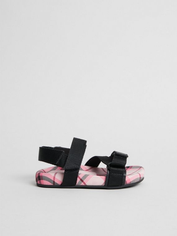 Ripstop Strap Check Cotton Sandals in Bright Rose | Burberry - cell image 3