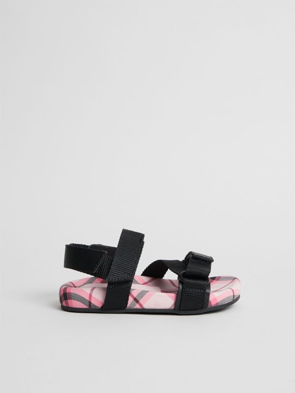 Ripstop Strap Check Cotton Sandals in Bright Rose - Children | Burberry - cell image 3