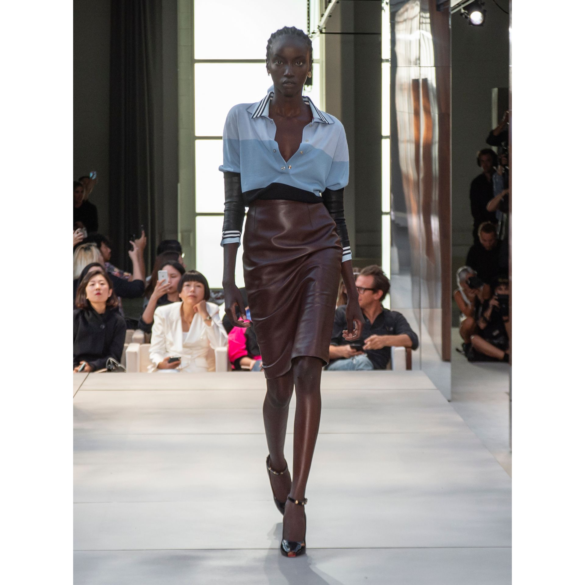 Lambskin Pencil Skirt in Mahogany - Women | Burberry Singapore - gallery image 5