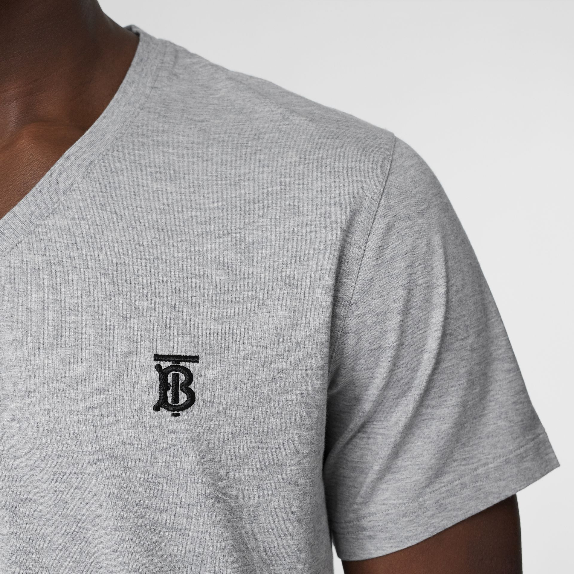 Monogram Motif Cotton V-neck T-shirt in Pale Grey Melange - Men | Burberry United Kingdom - gallery image 1