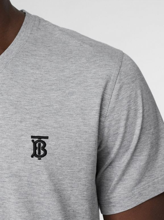 Monogram Motif Cotton V-neck T-shirt in Pale Grey Melange - Men | Burberry United Kingdom - cell image 1