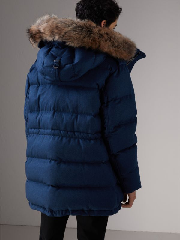 Detachable Fur Trim Cashmere Down-filled Parka in Teal Blue Melange - Men | Burberry - cell image 2