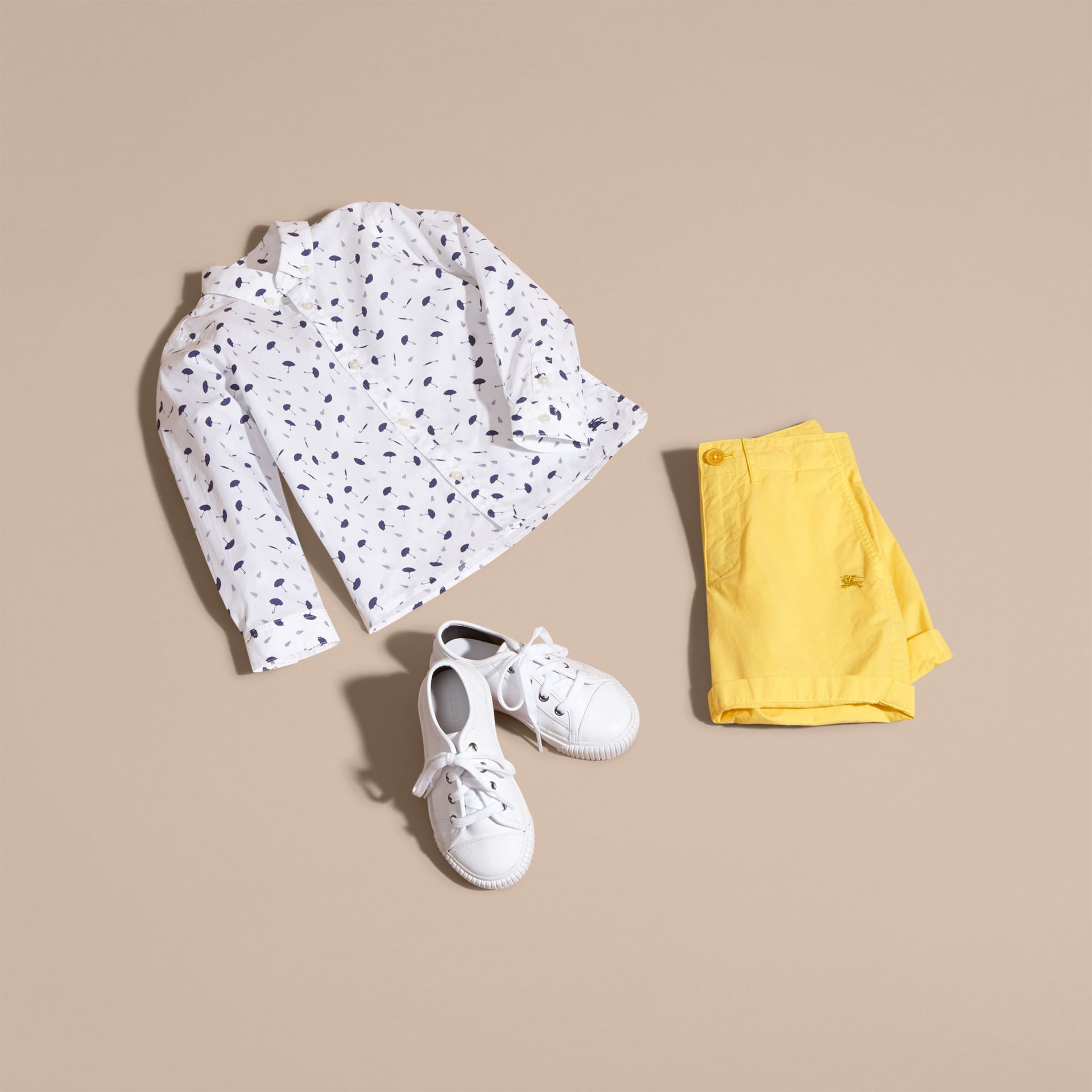 Umbrella Motif Cotton Button-down Collar Shirt - gallery image 5