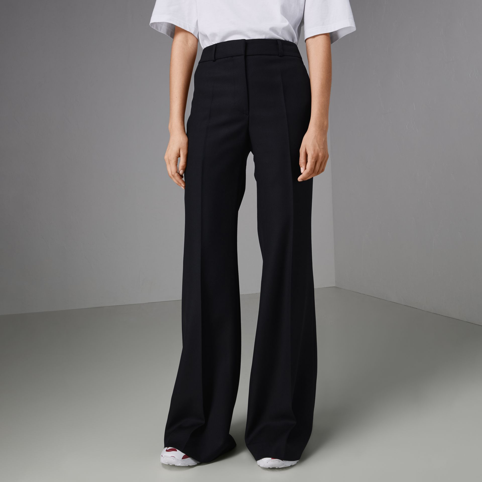 Flared Wool Tailored Trousers in Dark Navy - Women | Burberry Australia - gallery image 4