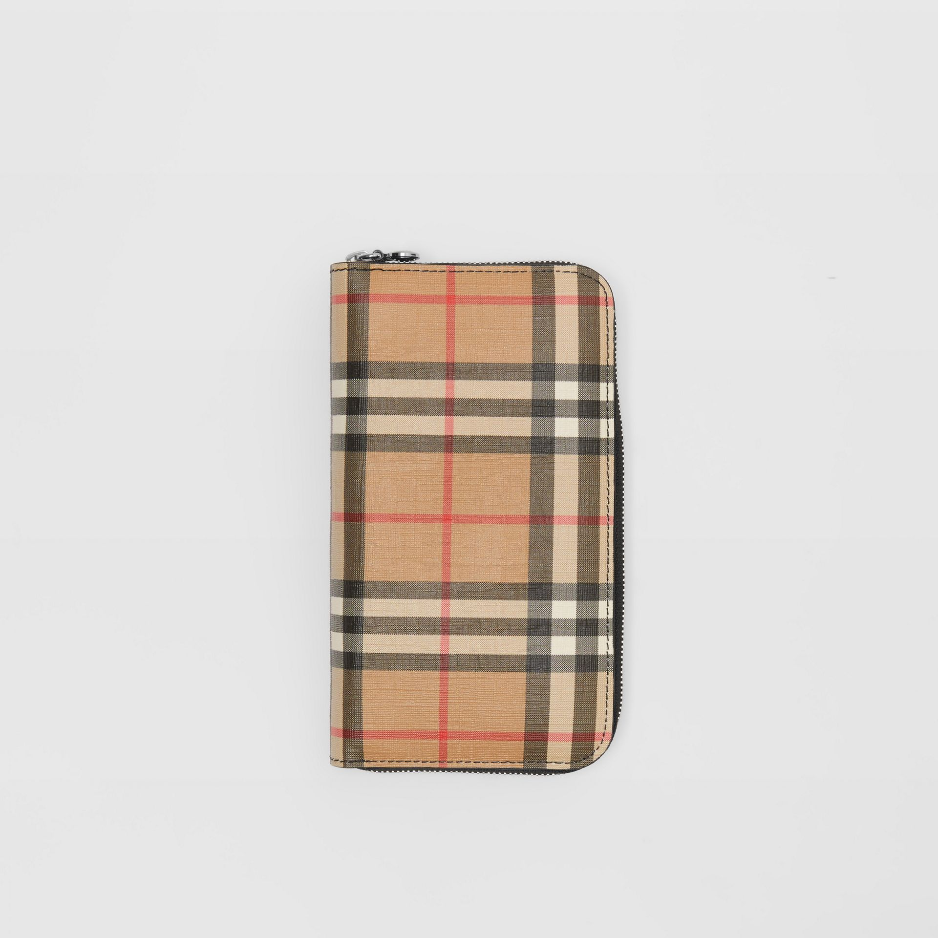 Vintage Check and Leather Ziparound Wallet in Black - Women | Burberry - gallery image 0
