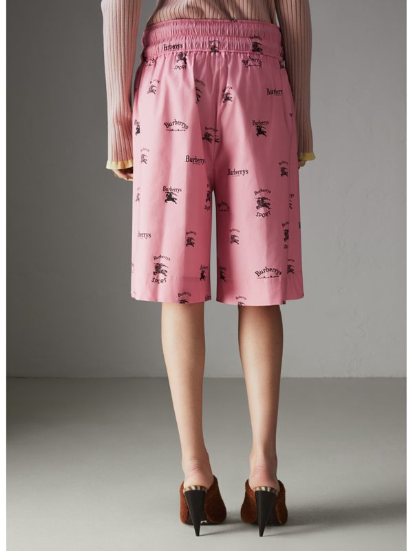 Archive Logo Print Stretch Cotton Drawcord Shorts in Pink - Women | Burberry Hong Kong - cell image 2