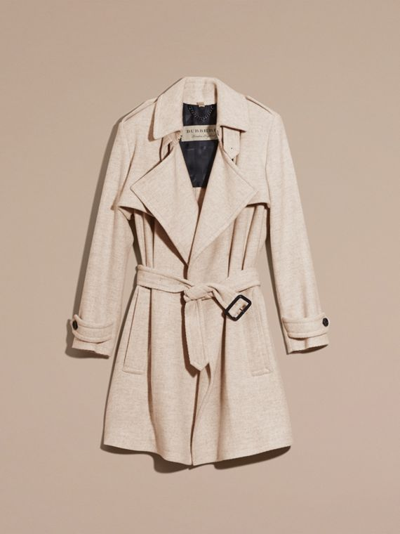 White grey Cashmere Wrap Trench Coat - cell image 3