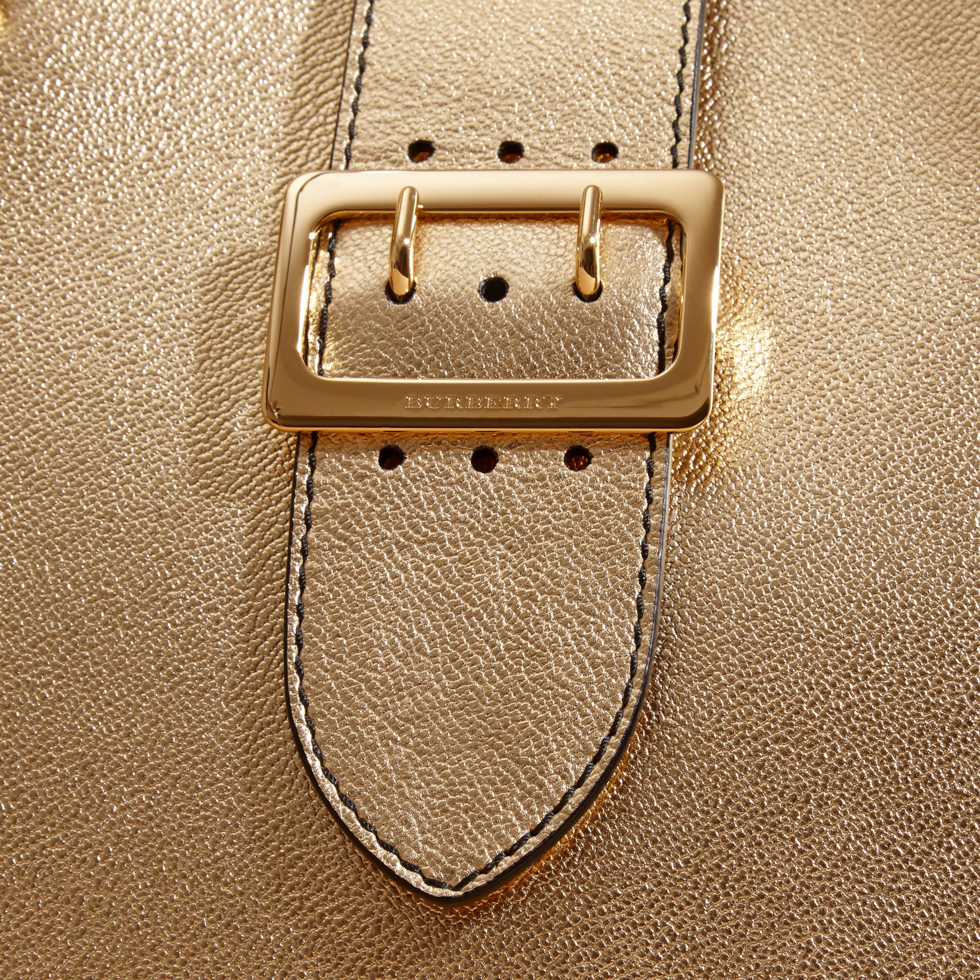 Gold The Medium Buckle Tote in Metallic Leather - gallery image 2