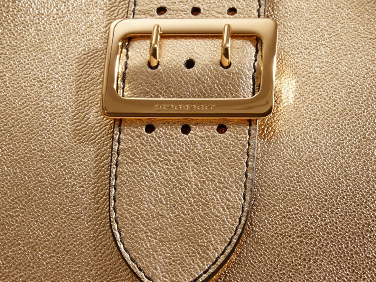 Gold The Medium Buckle Tote in Metallic Leather - cell image 1